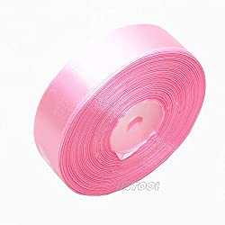 "Selling Wonderful 1"" Solid Satin Ribbon 50 Yards Roll for Wedding Details, Sewing Projects, Gift Wrapping, Invitation Embellishments and Crafting Projects Etc (Pink)"