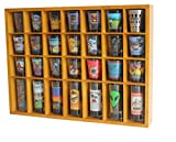 28 Shot Glass Shooter Display Case Holder Cabinet Rack, solid wood, NO Door, Wall Mount, OAK Finish