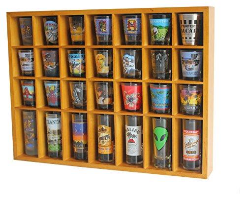 28 Shot Glass Shooter Display Case Holder Cabinet Rack, solid wood, NO Door, Wall Mount, OAK Finish