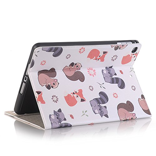 Sammid 2018 New iPad 9.7 Case, Cute Cartoon PU Leather Flip Book Style Folio Hands-Free Stand Case with Pen Holder Slot Card Slot & Money Pocket Protective Cover for iPad Air/Air 2/2017/2018 New iPad