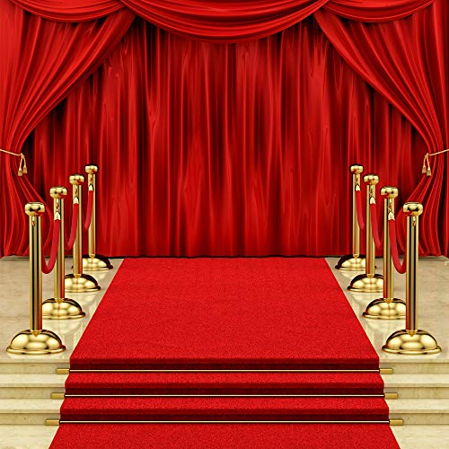Dudaacvt Backdrop 10x10ft Red Curtain Background Hollywood Red Carpet Stage Backdrop Wedding Party Events Photography Props Seamless Photo Studio Props D146]()