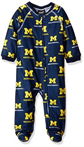NCAA Michigan Wolverines Infant Boys Sleepwear All Over Print Zip Up Coveralls, 18 Months, Dark Navy