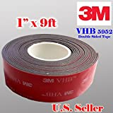 """3m 1"""" (25mm) X 9 Ft VHB Double Sided Foam Adhesive Tape 5952 Grey Automotive Mounting Very High Bond Strong Industrial Grade"""