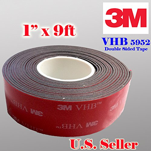 "3m 1"" (25mm) X 9 Ft VHB Double Sided Foam Adhesive Tape 5952 Grey Automotive Mounting Very High Bond Strong Industrial Grade"