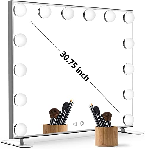 Nitin Lighted Vanity Mirror with Touch Control Design, Hollywood Style Makeup Mirrors with Lights, Tabletop or Wall Mounted Vanity Mirrors Silver