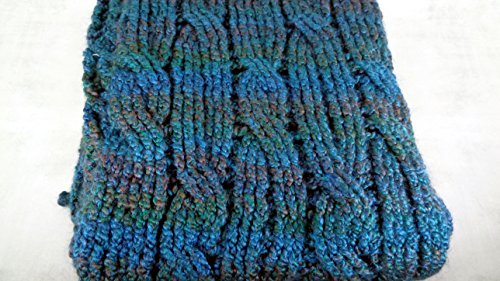 Extra chunky and long blue cross cabled super scarf blanket wrap wool blend by BrittanyAnnsBoutique