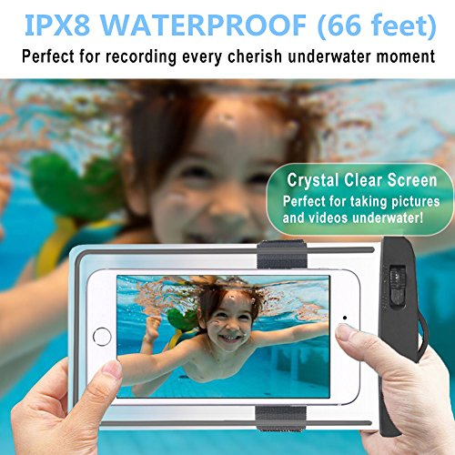 Universal Waterproof Case, Waterproof Phone Pouch Dry Bag with Armband & Neck Strap for iPhone X 8 8Plus 7 7Plus 6S 6SP 6 6Plus, Samsung Galaxy S9/S9 Plus/S8 Plus/Note 8 6 5 up to 6.0'' (White,Black) by CUCIUS (Image #6)
