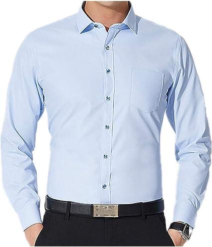U/A Business Camisa de manga larga para hombre Slim Color sólido Camisa sin plancha Casual: Amazon.es: Ropa y accesorios