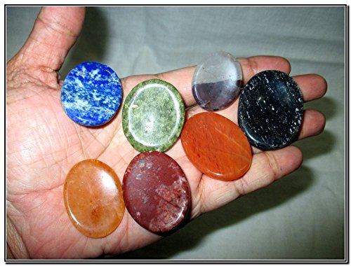 Fantastic Chakra Gemstone Worry Stone Set Palm Stone Thumb Stone Crystal Therapy Geometry Platonic Solid Sacred Air Water Earth Fire Hexagon Tetrahedron Hexahedron Icosahedron Square Octahedron Pentagon Star Merkaba Amethyst Lapis Lazuli Green Aventurine Red Jasper Yellow Aventurine Quartz Crystal Healing Chakra Balancing Unique Rare Energy Love Divine Spiritual Psychic Arch Angel Christmas Gift India Gemstone Original Authentic Genuine Crystals Stress Free Relaxation Concentration...