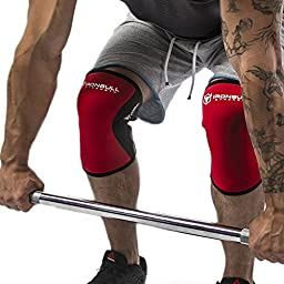 Knee Sleeves 7mm (1 Pair) - High Performance Knee Support For Weight Lifting - Best Knee Wraps and Straps - Provides Compression, Warmth, & Support - For Men and Women
