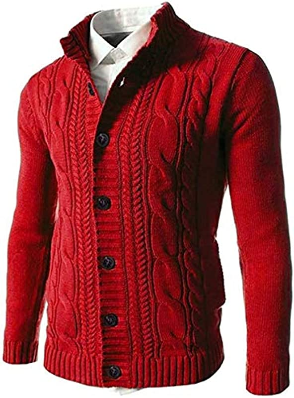 Youngaa Men's Autumn Slim Stand Collar Cable Knitted Button Cardigan Sweater: Odzież