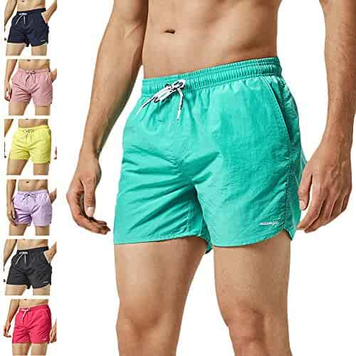 e2656a334e MaaMgic Mens Boys Short Solid Swim Trunks with Mesh Lining Quick Dry Mens  Swimming Suits Swim