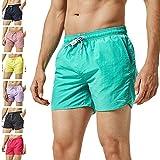 MaaMgic Mens Slim Fit Shorts Quick Dry Swim Trunks with Mesh Lining Male Bathing Suits,Medium(Waist:32''-34''),Green