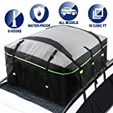 Rooftop Cargo Carrier Bag, 19 Cubic Feet, 600d PVC Material Waterproof Car Roof Bag, Fits All Cars with/Without Rack, Heavy Duty Bag, Rooftop Cargo Luggage Bag, 6 Door Hooks Included