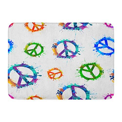 (Emvency Doormats Bath Rugs Outdoor/Indoor Door Mat Colorful Sign Peace Symbol in Watercolor Splashes Pattern Paint War Bathroom Decor Rug Bath Mat 16