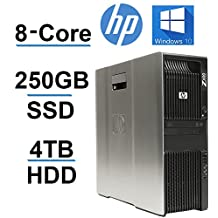 Beast Computer 8 CORE with 16 Hyperthreads, HP Z600 Workstation, 2 X Intel QUAD CORE Xeon up to 3.33GHz, NEW 250GB SSD + 4TB HDD, 24GB RAM, 4 Monitor Capable, USB 3.0, Windows 10, REFURBISHED
