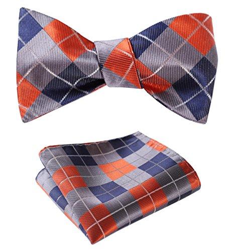 HISDERN SetSense Men's Plaid Jacquard Woven Self Bow Tie Set One Size Orange / Blue / Gray
