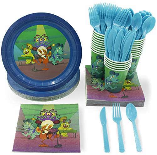 Juvale Monster Party Supplies - Serves 24 - Includes Plates, Knives, Spoons, Forks, Cups and Napkins. Perfect Monster Birthday Party Pack for Kids Monster Themed Parties. ()