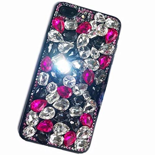 Alcatel Fierce 4 Case,Alcatel Allura Case,Alcatel Pop 4 Plus Full Crystal Diamond Case, 3D Handmade Luxury Sparkle Crystal Rhinestone Diamond Glitter Bling Clear TPU Case (White/Rose)