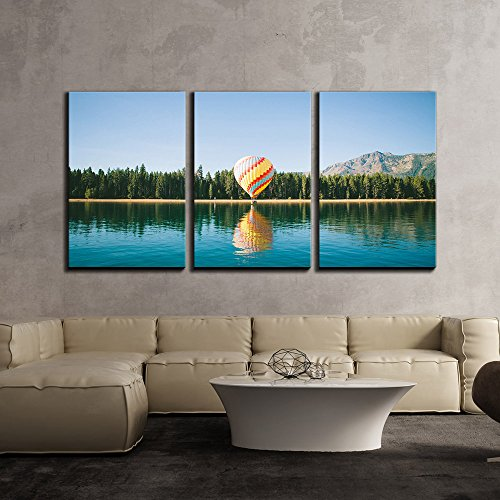 Colorful Hot Air Balloon Flying above the Lake x3 Panels