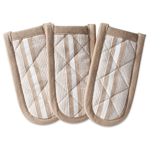 DII Cotton Stripe Quilted Pan Handle, 6x 3 Set of 3, Machine Washable and Heat Resistant for Everyday Kitchen Cooking and Baking-Stone Taupe