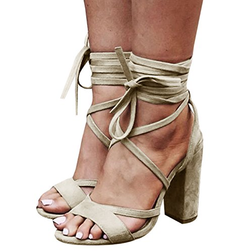 Bbalizko Womens Lace up Faux Suede High Heeled Strappy Sandals Shoes