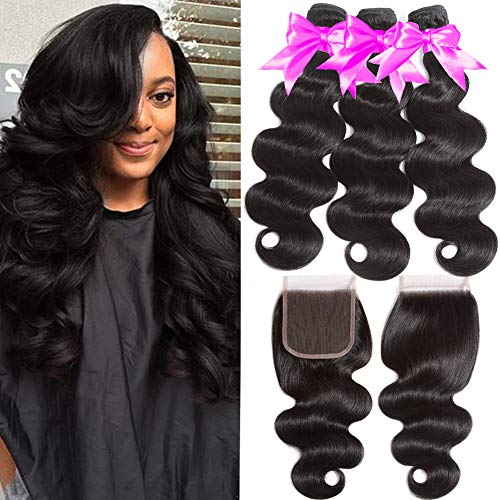 Flady Hair Brazilian Body Wave Hair 3 Bundles with Free Part Closure 10A Unprocessed Virgin Human Hair Bundles with Closure Natural Black Color (20 22 24+18inches free part closure)
