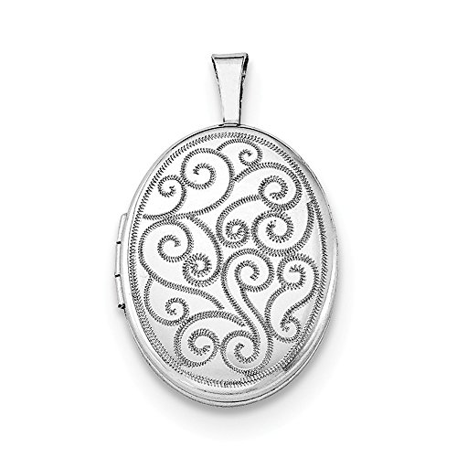 (925 Sterling Silver Swirls 19mm Oval Photo Pendant Charm Locket Chain Necklace That Holds Pictures Fine Jewelry Gifts For Women For Her)