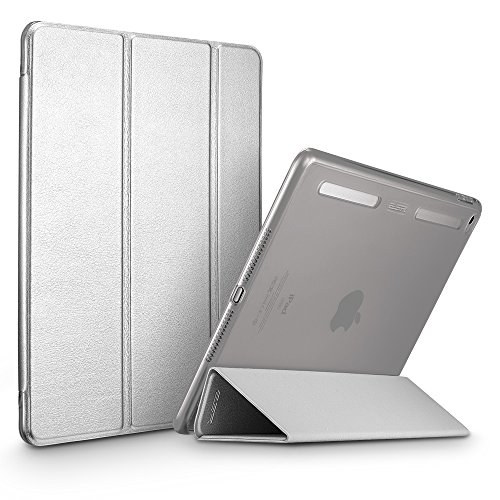 ESR Corner/Bumper Protection Smart Cover Case with Soft TPU Bumper and Auto Wake/Sleep Function for iPad Air 2, Metallic Silver