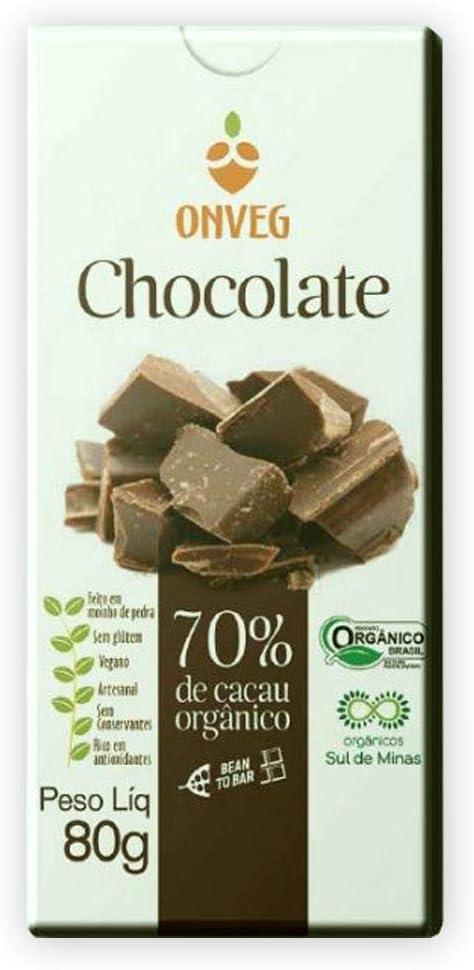 Chocolate 70% Cacau Orgânico 80g – Onveg por Onveg