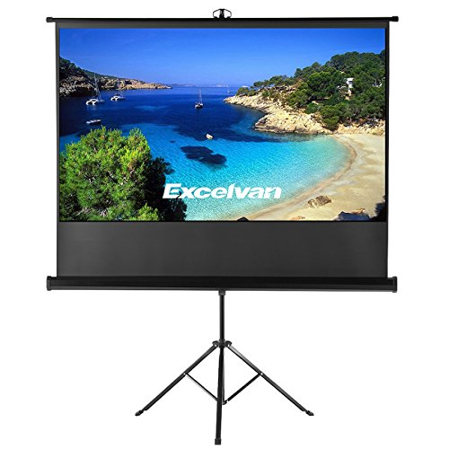 Excelvan Portable 100' Diagonal HD 16:9 Pull Up Projector Screen with Foldable Stand Tripod for Home Theater Cinema Wedding Party Offcie Presentation