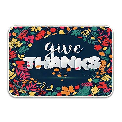 Nick Thoreaufhed Typography of Give Thanks in Leafage Frame Autumn Print Natural Doormat 16x24-100% All Natural- Eco-Friendly - Classic Design - Frame Stick Coco Natural