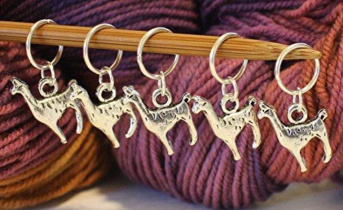 Set of 5 Alpaca Llama Stitch Markers for Knitting Stitchmarker Stitch Marker by Walnut Farm Designs