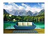 wall26 - Beautiful Landscape with Turquoise Lake, Forest and Mountains - Removable Wall Mural | Self-Adhesive Large Wallpaper - 100x144 inches