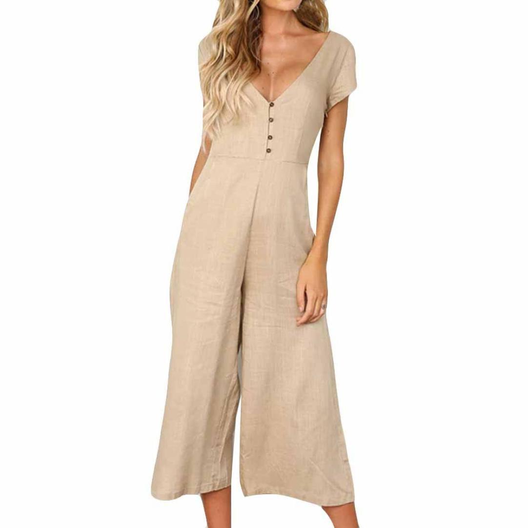 Kingfansion Women Short Sleeve Button V Neck Jumpsuits High Waist Wide Leg Romper