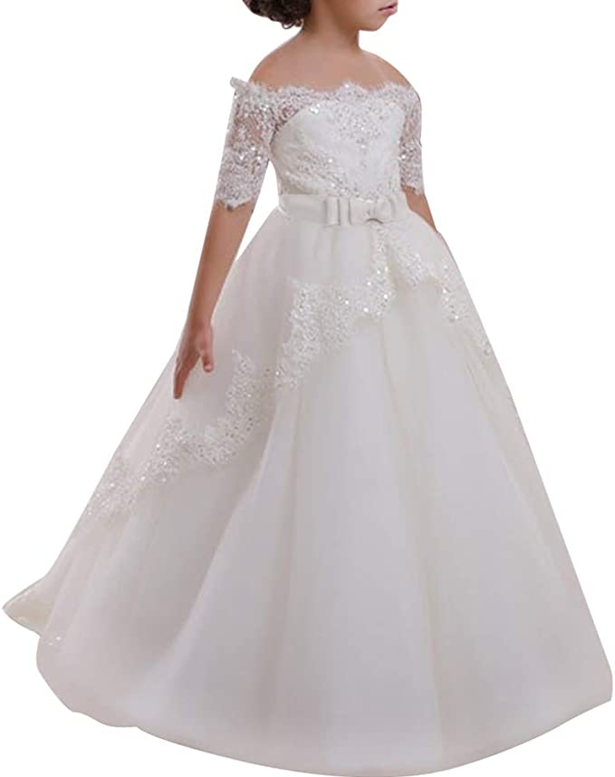 classic styles detailed look many fashionable Amazon.com: Flower Girl Lace Off-Shoulder Sequins Communion ...