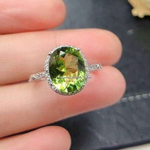 August Birthstone Ring Gemstone Ring Halo Ring Peridot Ring Peridot Sterling Silver Ring Sterling Silver Ring Women Green Stone Ring