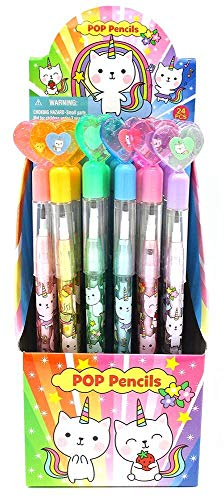 TINYMILLS 24 Pcs Unicorn Kitty Multi Point Pencils