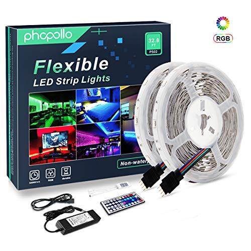 PHOPOLLO LED Strip Lights, 32.8ft 10m Non-Waterproof RGB Color Changing SMD 5050 300leds Flexible LED Tape Kit with 44-Key IR Remote Ideal for Home Bedroom Kitchen and Party, 12V Power Supply
