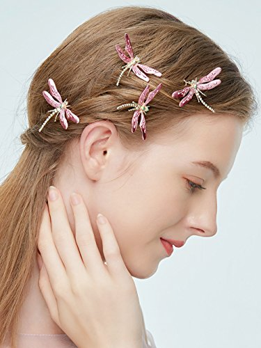 Aegenacess Wedding Hair Pins Gold Boho Combs Pink Rose Gold Dragonfly Vintage Accessories for Brides and Bridesmaids Women and Girls (Set of 4)