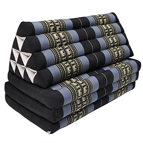 Thai triangle cushion/mattress XXL, with 3 folding seats,sofa, relaxation, beach, pool, meditation, yoga, made in Thailand Black/Violet (81318) by Wilai GmbH