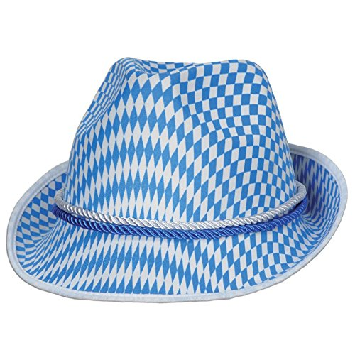 Pack of 12 Blue and White Harlequin Design Fabric Oktoberfest Alpine Party Hat by Party Central