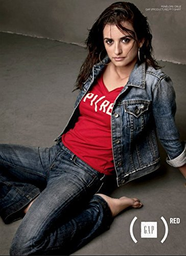 **PRINT AD** With Penelope Cruz For 2006 Gap Red T Shirts **PRINT AD** - Gap Red T-shirt