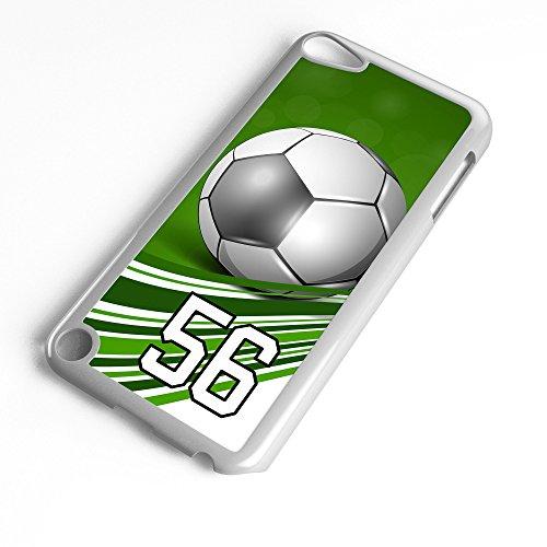 Generation 5 Soccer Ball Green Swirl Stripes Any Custom Jersey Number 56 White Plastic (Swirl Soccer Goalie Jersey)