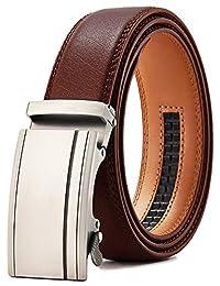 """Ratchet Belt Dress for Men, Adjustable Leather Belt with Slide Automatic Buckle in Gift Box(Brown, 28""""-44"""" Adjustable)"""