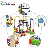 Fun Little Toys Assembled Beads Around Circle Bead Maze Educational Skill Improvement Wood Toys for Kids, Toddlers, Babies Colorful (Fruit)