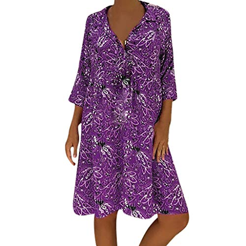 TRENDINAO Womens 3/4 Sleeve A Line Dress,Casual Plus Size Floral Printed Deep V-Neck Loose Fashion Summer Swing Dresses Purple ()