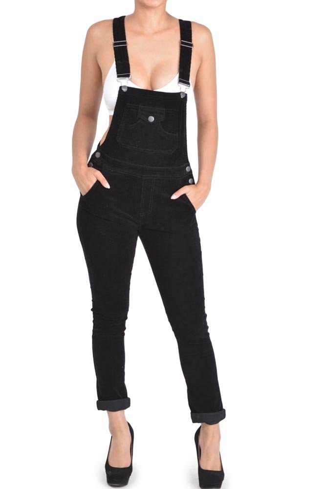 G-Style USA Women's Corduroy Overalls RJHO446 - Black - 2X-Large - S1G