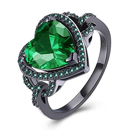 Heart Black Green (BEMI Romantic Black Gold Green Heart AAA Zircon Band Promise Ring Bachelor Party Statement Rings for Girl 9)