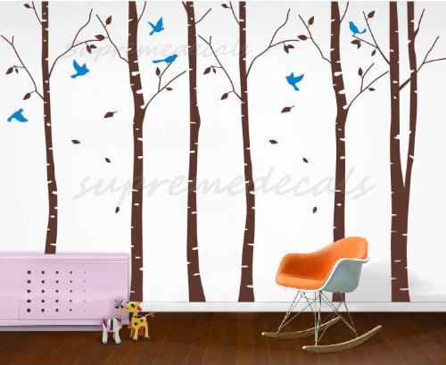 Wallpaper Childrens - Six Big Birch Trees (Dark Brown) with Flying birds - Beautiful Tree Wall Decals for Kids Rooms Teen Girls Boys Wallpaper Murals Sticker Wall Stickers Nursery Decor Nursery Decals